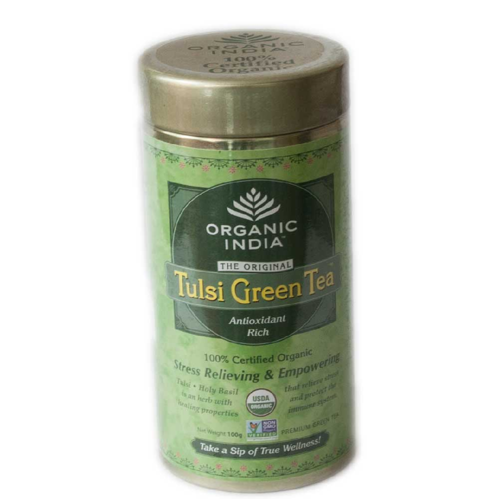 Organic India Tulsi Green 100 gm Loose Tea Tin