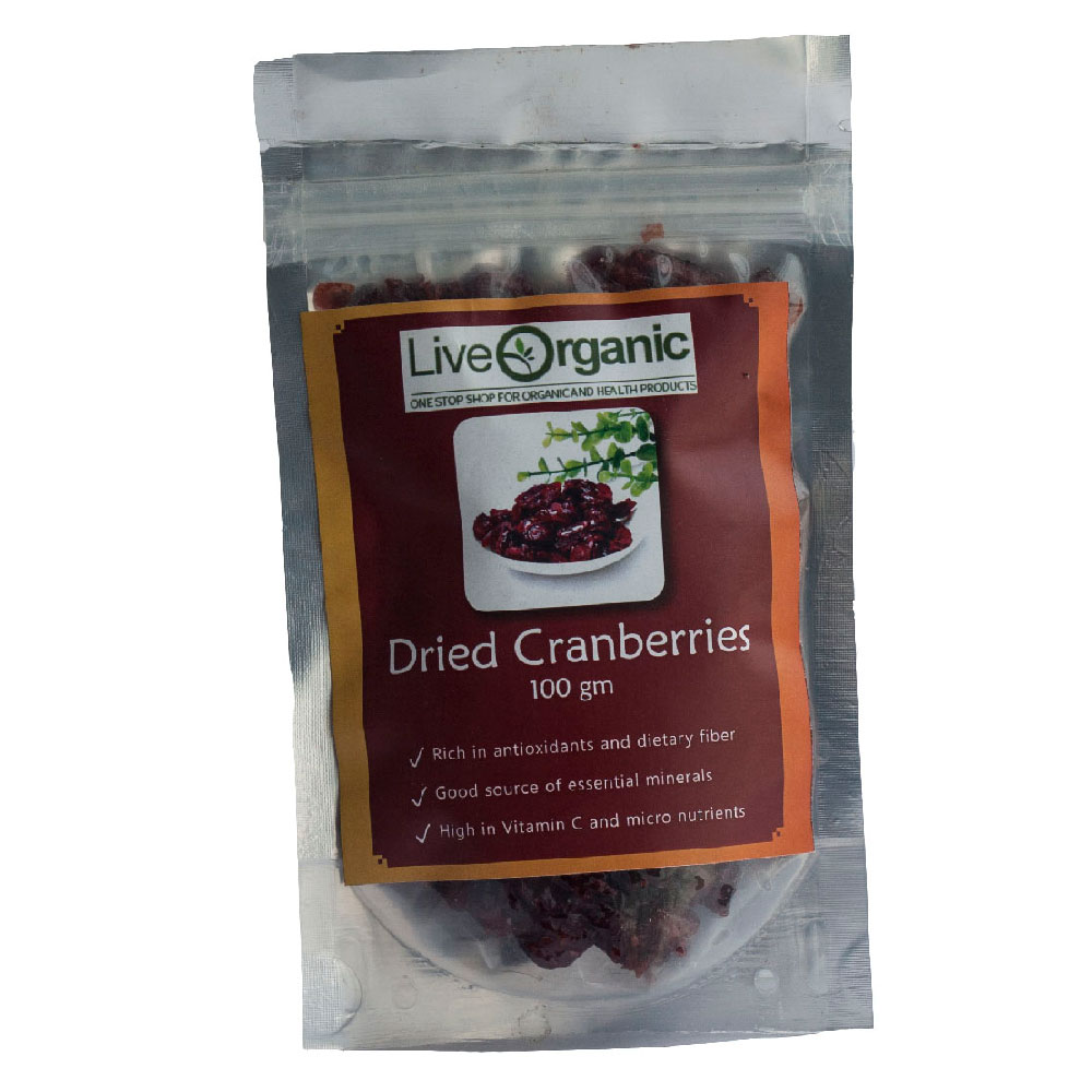 Live Organic Dried Cranberries 100 gms
