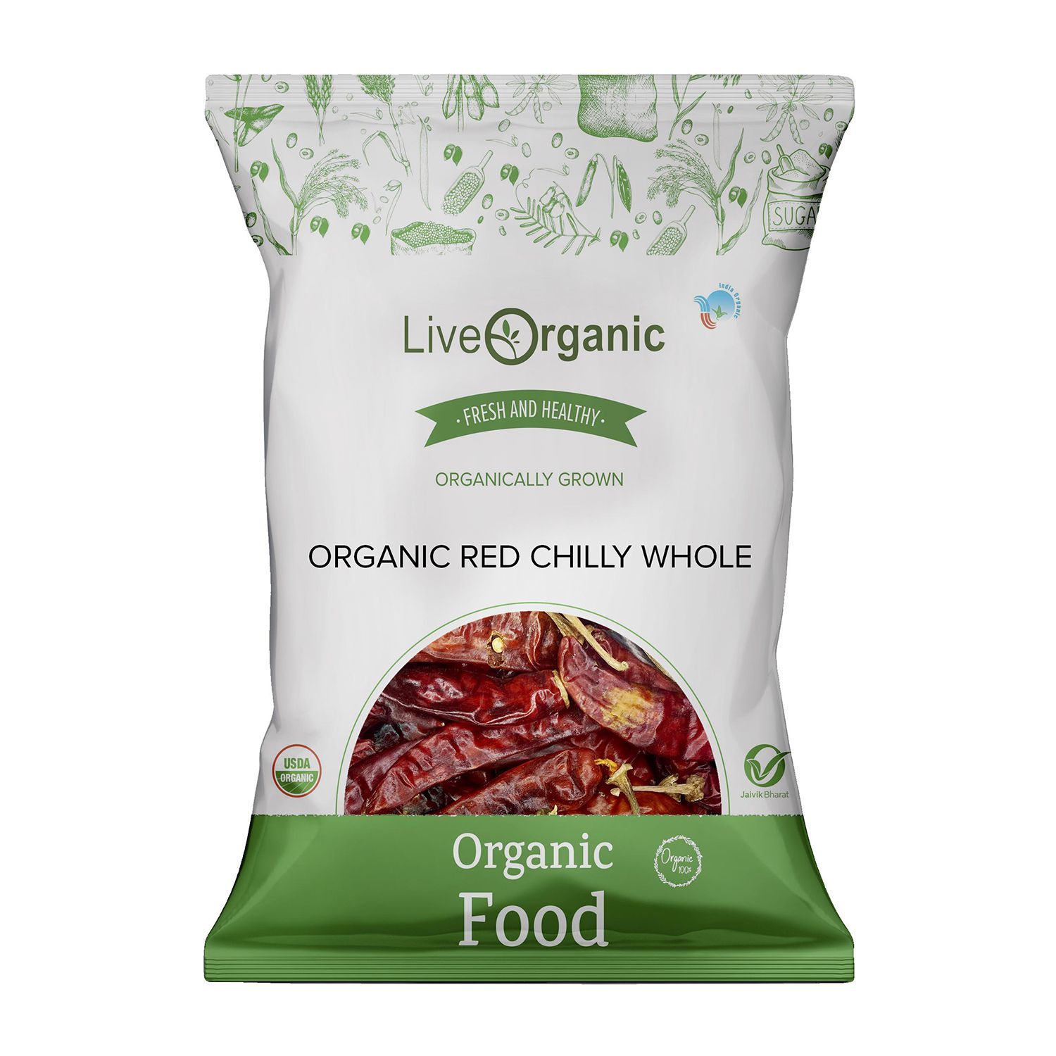 .Live Organic Red Chilly Whole 50G