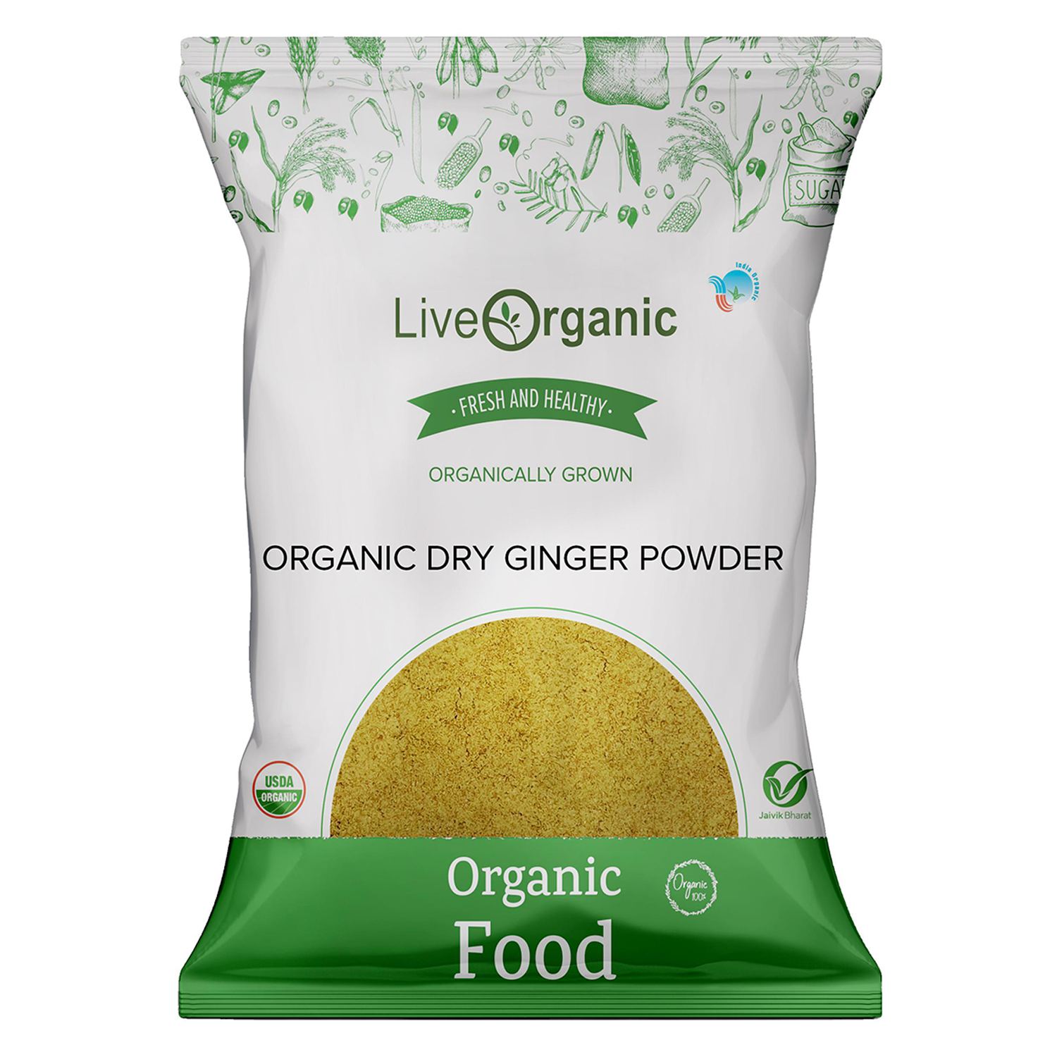 .Live Organic Dry Ginger Powder 100G