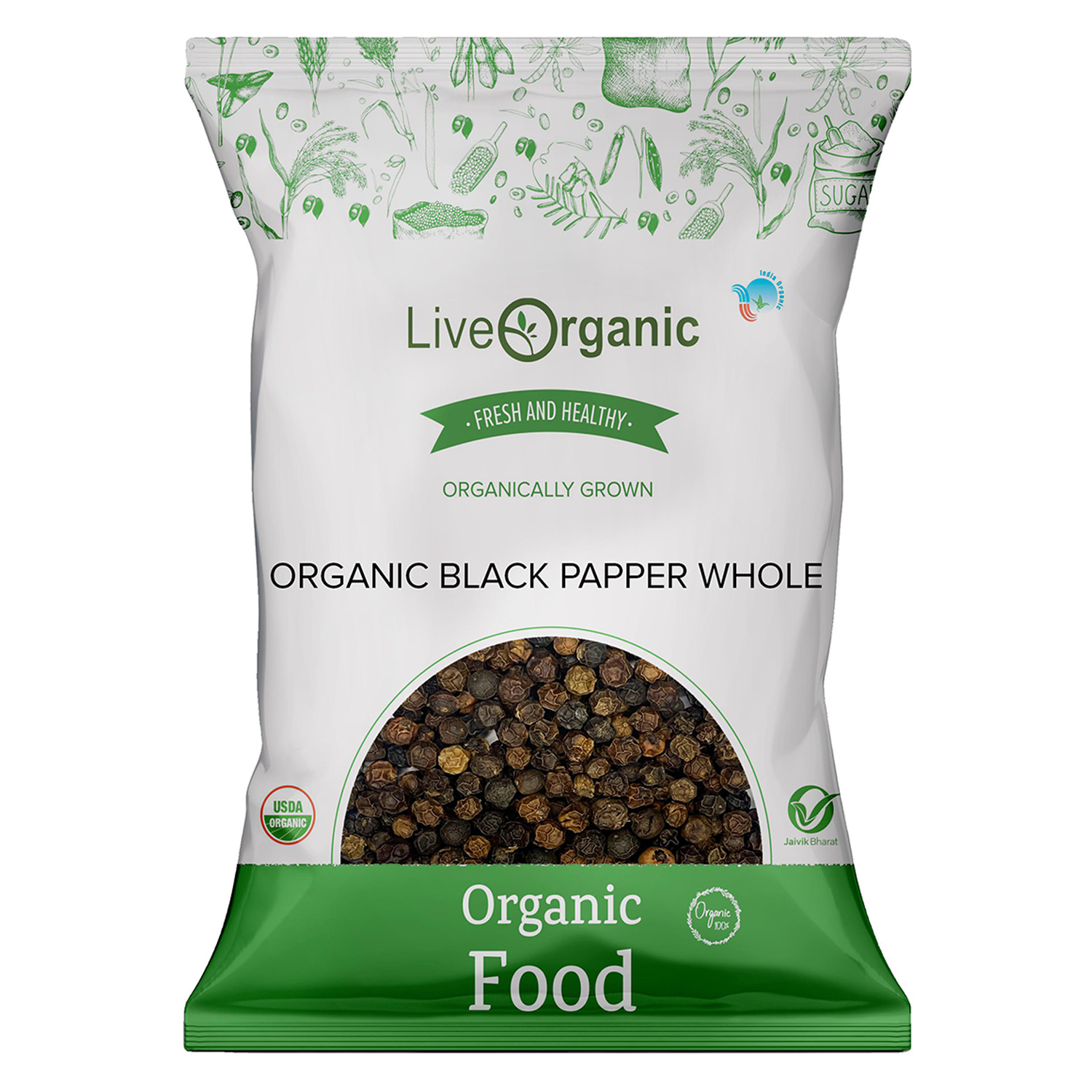 .Live Organic Black Pepper Whole 100G