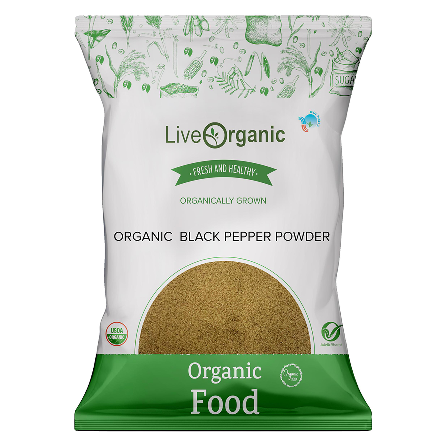 .Live Organic Black Pepper Powder 100G